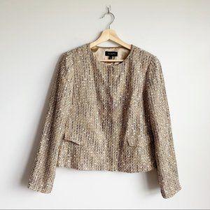 Talbots Tweed Blazer Jacket NWT New Tan Brown 10
